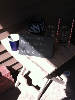 Name it and claim it - chalk board labelled mason jars