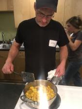 JT cooking the Kelewe